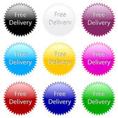 Free delivery ! Colorful website vector icon. — Stock Vector