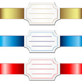 Cards over satin ribbons. — Stock Vector