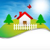 Casa sulla collina — Vettoriale Stock