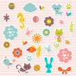 Stock Vector: Set of cute babyish stickers