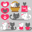 Stock Vector: Two cats romantic valentine set