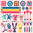 Stock Vector: Sweet childlike scrapbook elements with animals