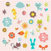 A set of cute babyish stickers — Stock Vector