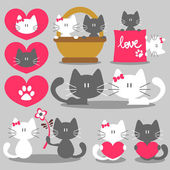 Two cats romantic valentine set — Stok Vektör