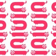 Royalty-Free Stock Vector Image: Seamless pattern with funny pink cat