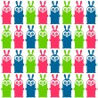 Royalty-Free Stock Vector Image: Seamless pattern with funny colorful bunnies