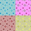 Royalty-Free Stock Imagem Vetorial: A set of cute seamless patterns with flowers