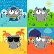 Cute funny cat in four seasons set — Stock Vector