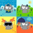Cute funny cat in four seasons set — Stock Vector #12051495