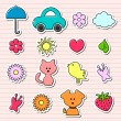Cute childish stickers set — Stock Vector #12051502