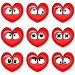 Funny hearts smiley faces set — Stock Vector