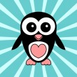 Greeting card with cute penguin — Imagen vectorial