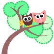 Greeting card with two cute owls — Stock Vector #12052351