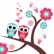 Stock Vector: Pretty romantic card with owls