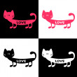 Stock Vector: Set of cute love cards with cat