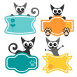 Cute frames with funny cartoon cats — Stock Vector