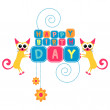 Happy birthday card with funny cats — Stock Vector