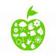 Green apple with ecological icons — Stock Vector