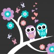 Stock Vector: Two owls cute romantic card