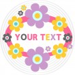 Cute greeting card with colorful flowers — Stock Vector