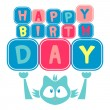 Stock Vector: Cute birthday card with kitten