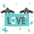 Romantic card with birds — Imagen vectorial