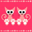 Cute couple of kittens card - Imagen vectorial