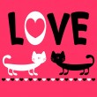 Stock Vector: Love card with two funny cats