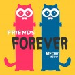 Friends forever greeting card two cats — Stock Vector #12052582