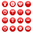 Glossy romantic love icons set — Stock Vector