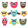 Stock Vector: A set of cute owls