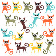 Stock Vector: A set of cute bright cartoon cats