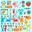 A set of cute decorative elements with animals — Stock Vector