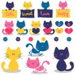 Cute little kittens romantic elements set — Stock Vector
