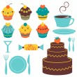 A set of sweet dessert elements — Stock Vector