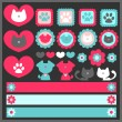 Постер, плакат: A set of cute romantic elements with dogs and cats