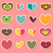 A set of cute heart stickers — Stock Vector