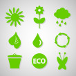 Stockvektor : Green ecological icons set