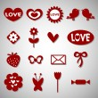 A set of cute romantic icons — Stock Vector