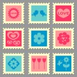 Cute romantic love stamps set — Stock Vector #12052652