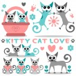 Romantic kitty cat love set - Stock Vector