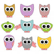 Stock Vector: Set of cute childlike owls