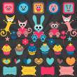 Cute animal stickers design elements — Stock Vector #12052659
