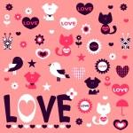 Cute romantic stickers design elements — Stock Vector #12052666