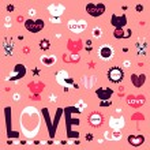 Cute romantic stickers design elements — Stock Vector