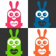 A set of colorful love cards with funny bunny — Stock Vector