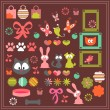 Stock Vector: Cute animal stickers