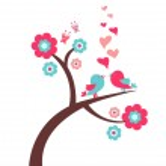 Pretty romantic card with birds — Stock Vector