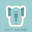 Stock Vector: Baby shower card with cute elephant