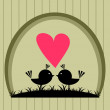 Birds in love postcard - Imagen vectorial